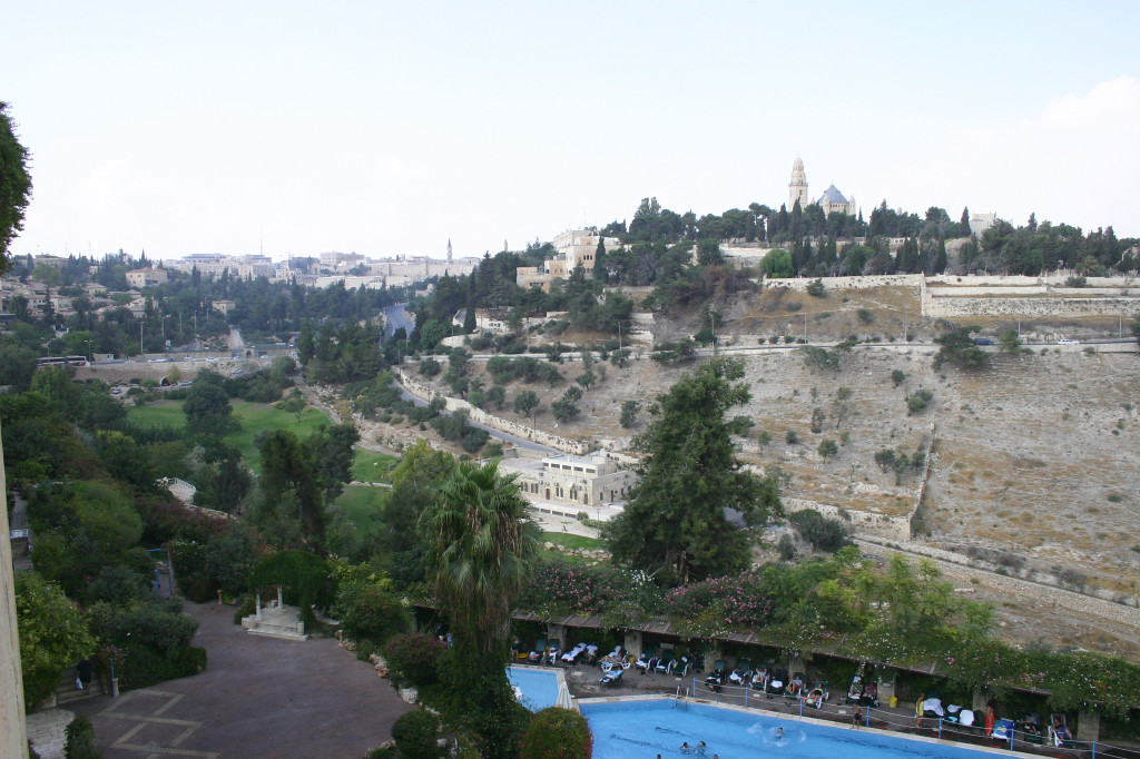 Arrived for the final 3 days, all in Jerusalem. We stayed at the Mt. Zion Hotel, and this view out our window shows Mt Zion- where Mary died and King David is alleged to be buried. In the distance to the left of Mt. Zion is the wall to the Old City