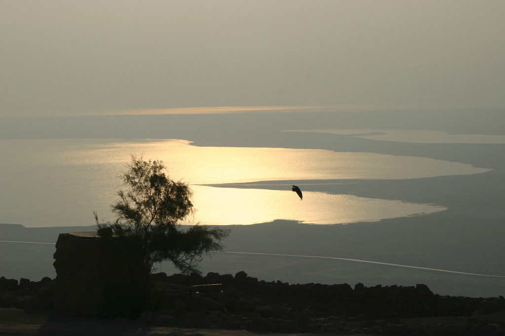 View of the Dead Sea from the top of the flat rock fortress