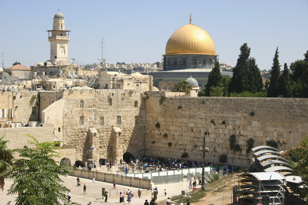 The Dome of the Rock, where Allah is said to have ascended to heaven, sits on the site of the Jewish Holy Temple, destroyed by the Romans in 70 AD. More than 150 years earlier, Herod built a large retaining wall around the Temple compound, and the only remnant of the Temple complex is this retaining wall, seen just below the Dome of the Rock. It is called simply the Western Wall.