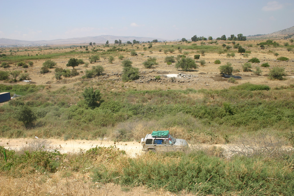 Modern fortifications: Until 1967 (when this land was captured), the Syrian patrol road was where this car drives. The Syrians and Israelis skirmished over the spring source, just out of sight to the left.