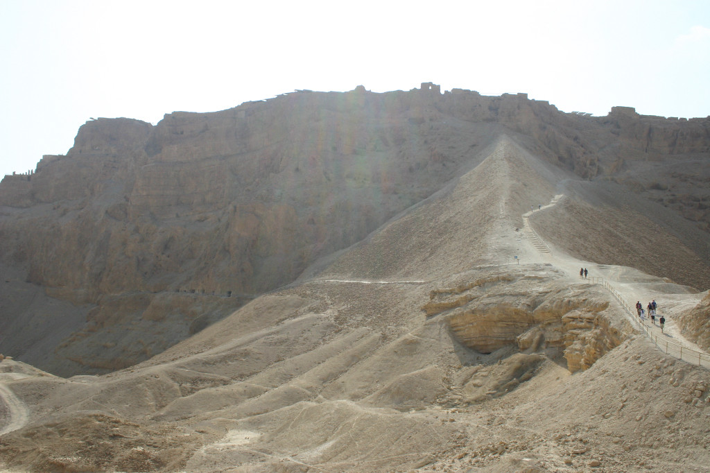 Masada- Herod's fortress overlooking the Dead Sea taken over by Jewish rebels against the Romans in 70 AD. The Romans did not look kindly upon rebels, and beseiged Masada with many Legions. They used Jewish slaves to patiently build this ramp up the western side, which still stands
