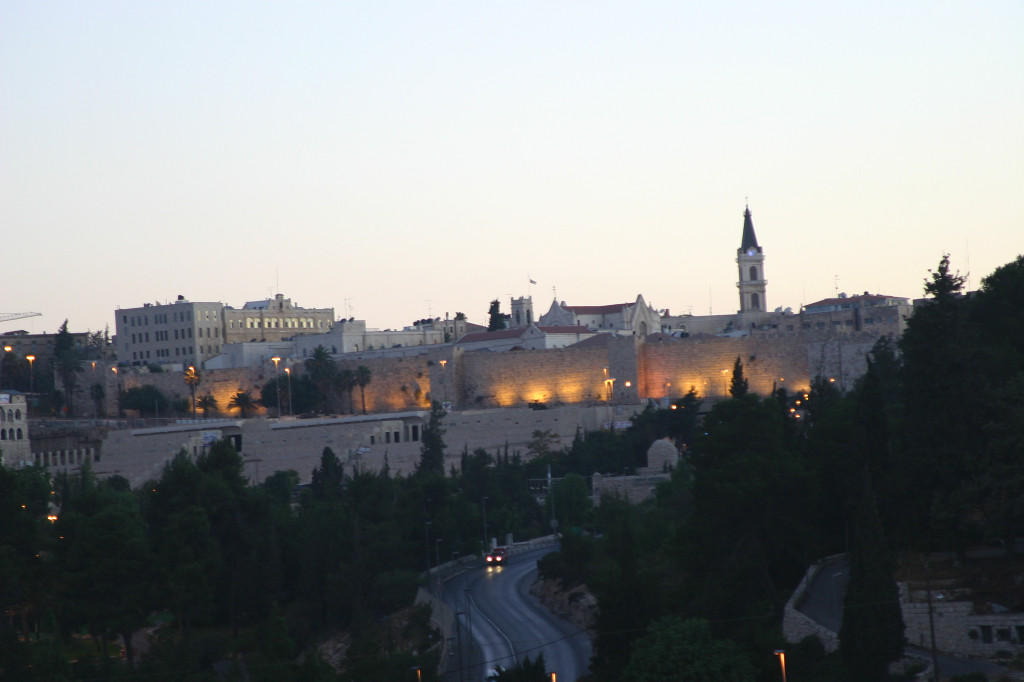 5 AM- as dawn rises, the walls of the Old City are still lit. Taken from our hotel room