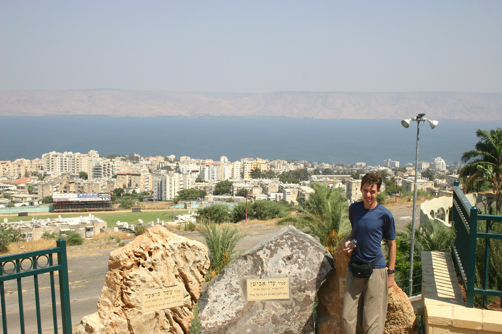 Drove the 50 miles from the Mediterranean (Haifa) across the entire Galilee in no time. Here we stop for a picture as we descend into Tiberius (founded AD 70) and the Sea of Galilee- 800 feet below sea level
