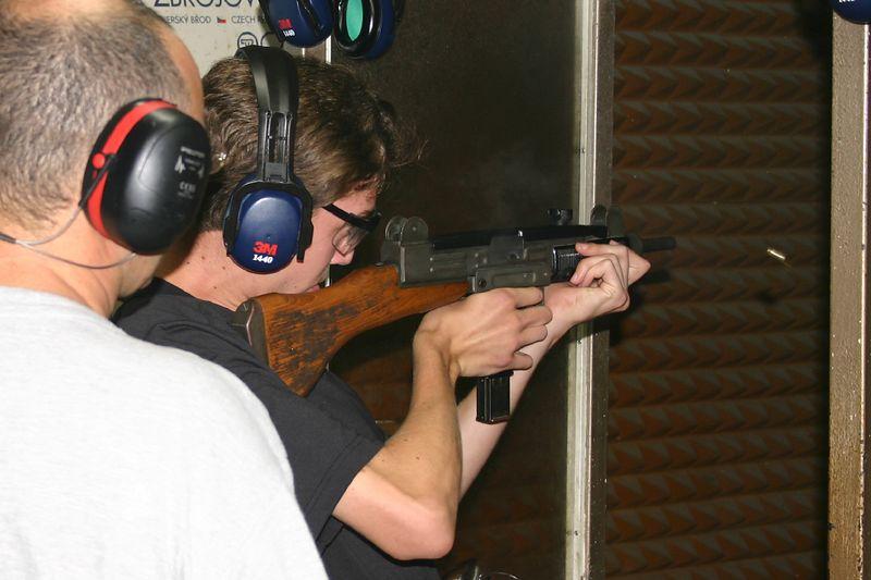 What teenage boy would not want a chance to shoot a submachine gun (an Uzi)?