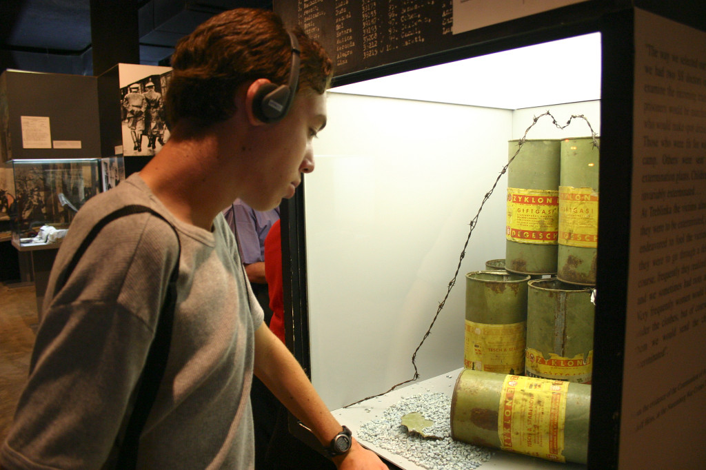 Last stop in Israel- Yad V'shem, or the Holocaust museum. Max listens to the audioguide in front of a display of canisters of gas that the Nazis used in the gas chambers