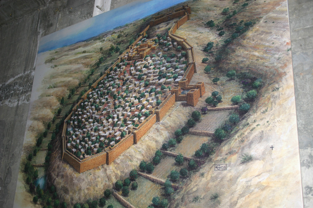 The original City of King David, circa 1000 BCE, was just south of where the Temple southern wall is, and just south of the present wall of the Old City. King Hezekiah ~700 BCE had a long tunnel dug from the spring into the city, to protect the water supply during an Assyrian attack.