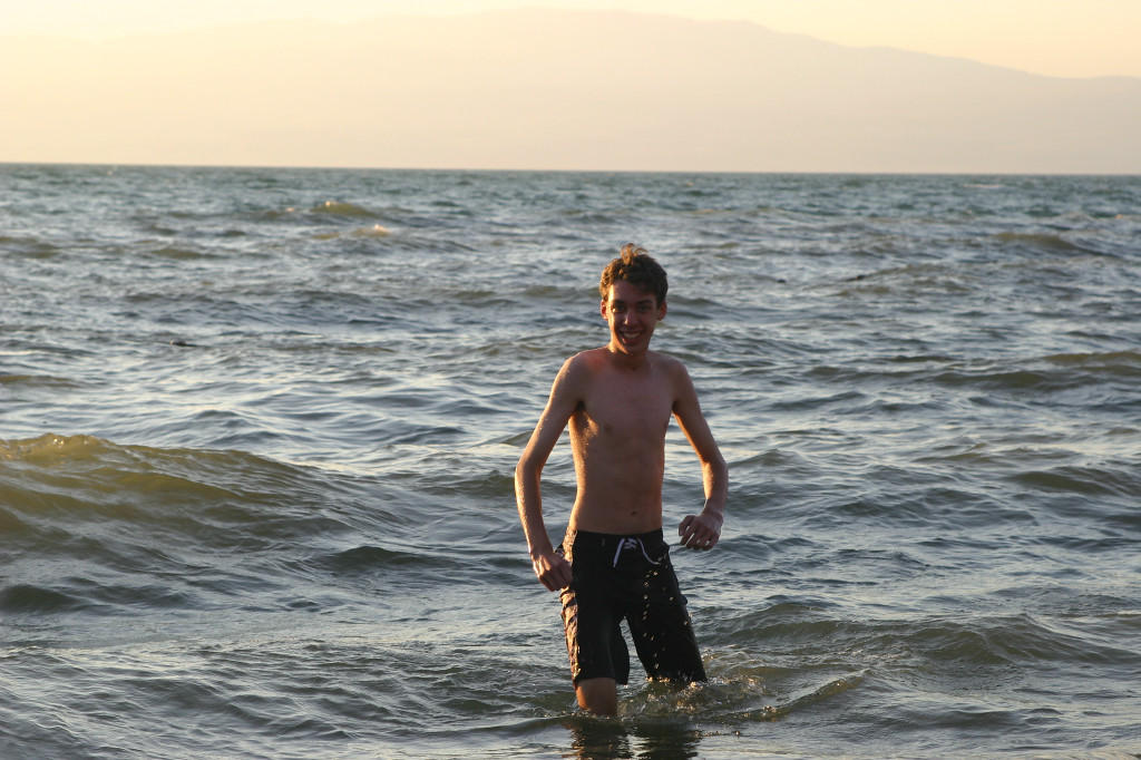 Max tries out the Sea of Galilee. The water was warm- probably around 80 degrees. Large rainfall the last two years has raised the drought stricken lake level 6 feet