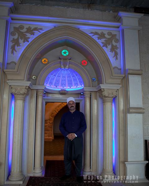 Sheik Kasem Bader outside his retreat