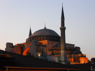 Hagia Sofia as seen from our hostel terrace.