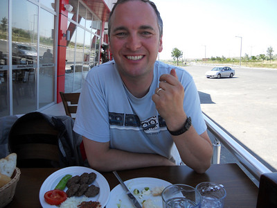 We enjoy a near silver service lunch at a service station.