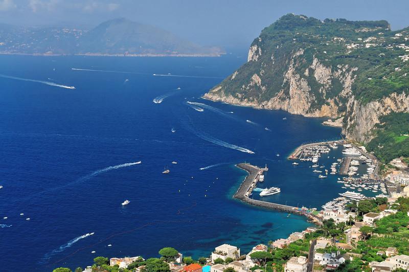Capri - View of the Marina Grande, main harbor, from Anacapri