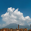 View of Mt. Vesuvius from the Forum in Pompeii