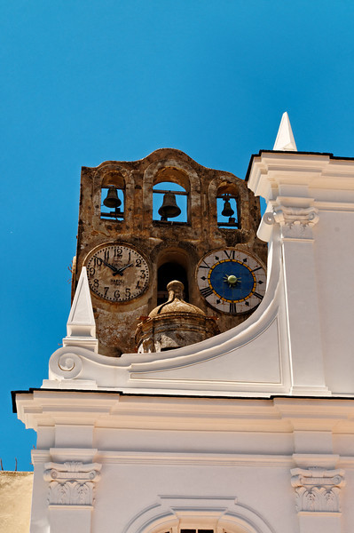 Church of San Sofia in Anacapri -- Old Clock Tower behind newer facade