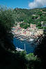 Portofino, a view from up on the hill, looking down on the port.