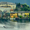 Island with renaissance buildings in the middle of an italian lake (Orta) near Milan