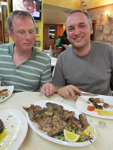 Matt's perked up by the plate of grilled meat!