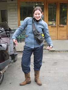 Who says bikers are cool?!! Jessie goes for the 'cossack' vibe!