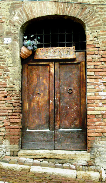 Old door in Siena Italy