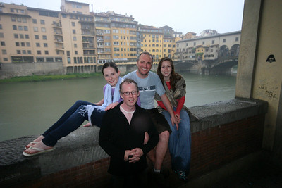 Soggy but happy, by Ponte Vecchio.