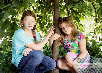Girls Framed by Tree-