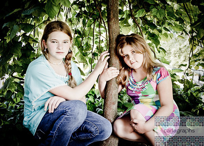 Girls Framed by Tree art tint-