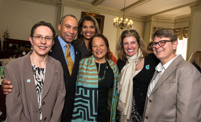 L-R:  JDI Interim ED Debra Robbin, Governor Deval Patrick, NECN Anchor Latoyia Edwards, Diane B. Patrick, JDI Board Member Sheila Green, Governor's Council to Address Sexual and Domestic Violence Director Sheridan Haines<br /> 5/8/2014 for Jane Doe Inc. © Ilene Perlman Photography