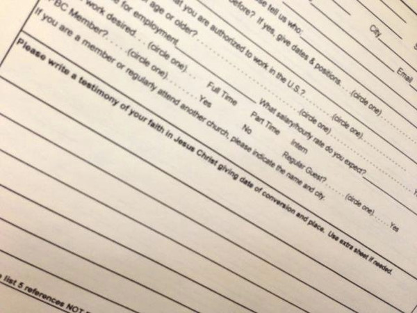 My friend Maury Ball encountered this on page 5 of a 6-page job application for a warehouse manager position. 01/09/13