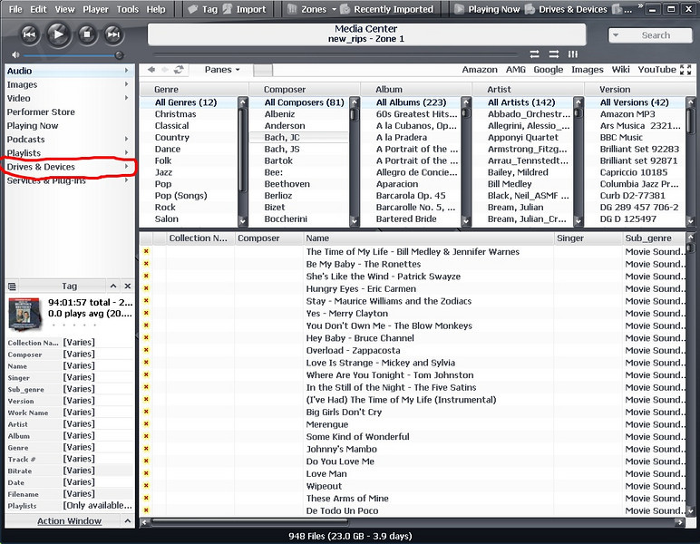 "After the options have been set, we want MC to display the contents of the CD or DVD drive that  we will use use for ripping.  In the view tree area on the left side of the window, look at the ""Drives & Devices"" line.  If the drive we will use is not listed under this line, click on the small right pointing arrow head to the right of ""Drives & Devices""."
