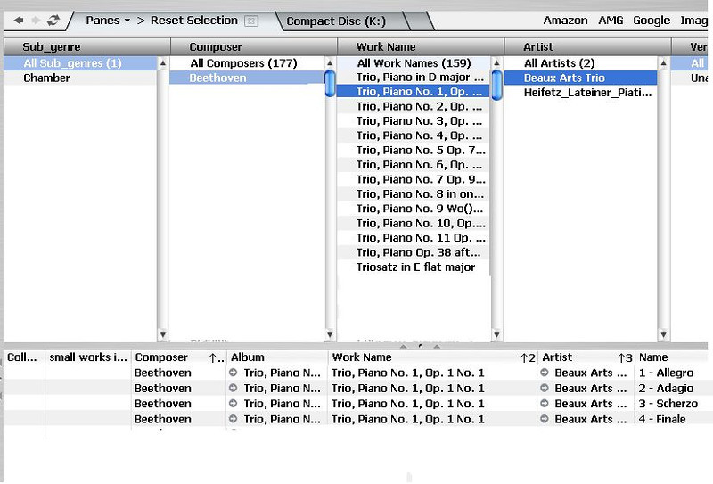 My idea 4<br /> <br /> I've selected Composer=Beethoven, then Work name=Trio, Piano No. 1... and now Artist=Beaux Arts Trio.  The file list contains files that meet all the selection criteria. Each pane list is filtered by selections in the other panes.<br /> <br /> What MC 16 displays would be determined by the selections shown on the screen rather than by the history of past actions.