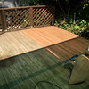 Tony has started sanding the deck... noltice the difference where he has gone versus the old deck