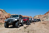 Line of jeeps stopped for lunch in Last Chance Canyon in the El Paso Mountains