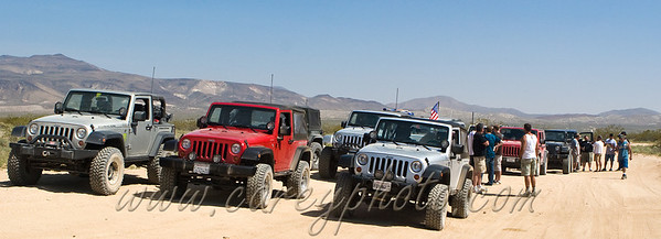 Jeeps stopped on the trail in the El Paso Mountains, California