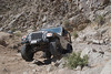 Jeep wrangler climbing out of the wash in Last Chance Canyon in the El Paso Mountains, California