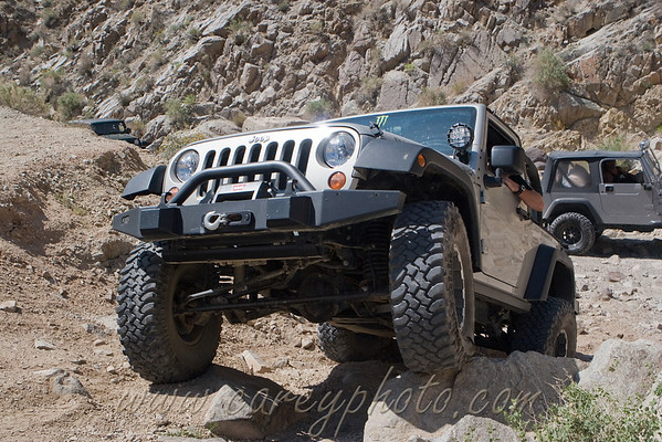 Jeep posing on the rocks in Last Chance Canyon