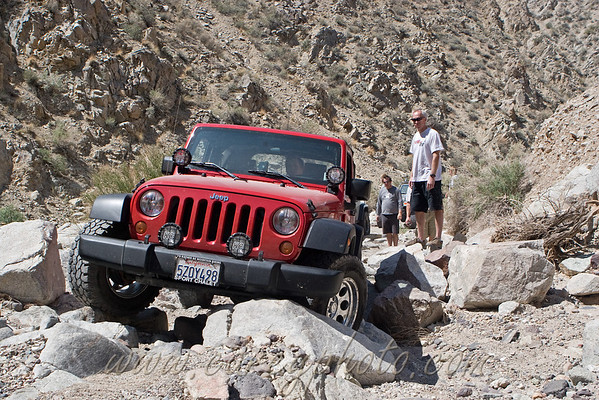 NotMySonsJK watching his son at the wheel stuck on the rocks in Last Chance Canyon