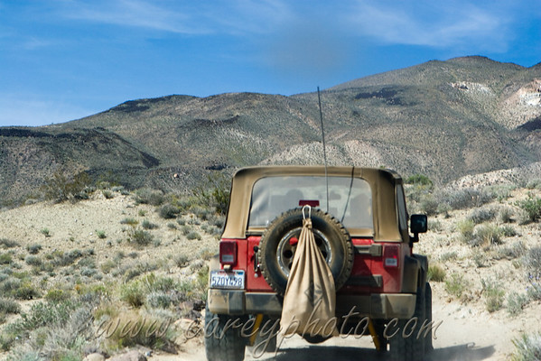 Jeep on the trail in the El Paso Mountains, California