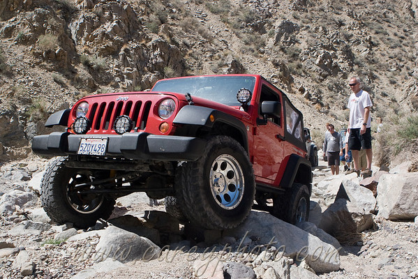 Jeep wrangler on the rocks in Last Chance Canyon