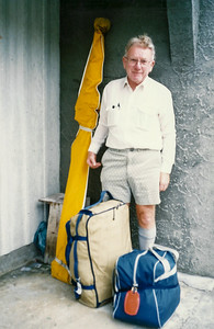 1984 - JER Mathews in travel mode (with skiis) a