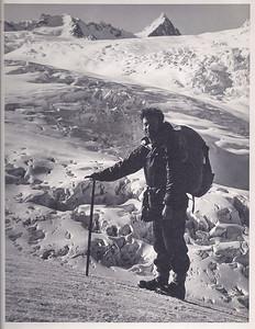 JER Mathews above Fox Glacier, en route to Pioneer Hut a
