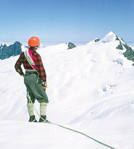 1963 JER Mathews on Mt Sefton a NEG