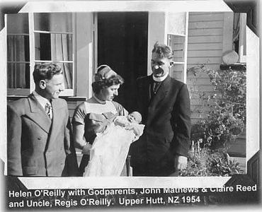1954 JER Mathews with Helen and Regis O'Reilly (with baby Helen) a