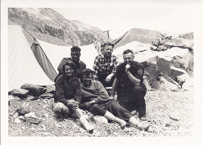 JER Mathews (2nd from right) up Godley River climbing Mt D'Arch a