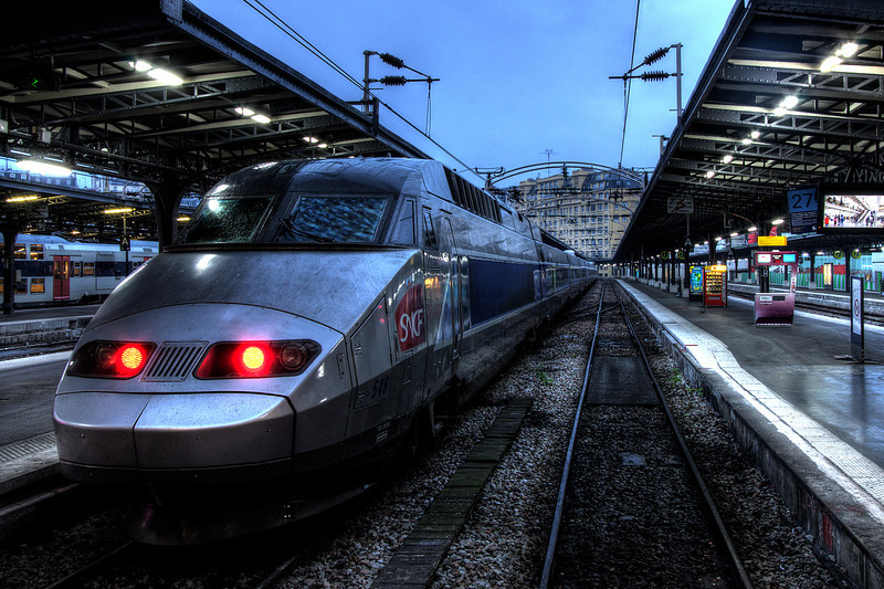 Two generations of TGV (Train à Grande Vitesse, meaning high-speed train), at Gare de l'Est (East Railway Station), Paris, France