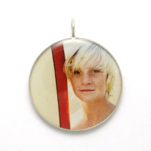 "Necklace_K_15, $52 of $64 depending on chain length Your photo is reproduced and sealed making the pendant waterproof, fadeproof & scratch resistant. Your choice of 3/4"" or 1 1/4"" round pendant. Sterling Silver."
