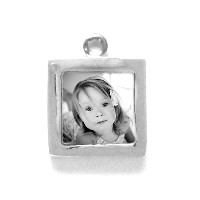 """Charm_K_07, $42.00<br /> Your photo is reproduced and sealed making the charm waterproof, fadeproof & scratch resistant. Photo measures 7/16"""" square.  Solid Sterling Silver."""