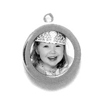 "Charm_K_08, $42.00<br /> Your photo is reproduced and sealed making the charm waterproof, fadeproof & scratch resistant.  Measures 5/8"" Round.   Solid Sterling Silver."