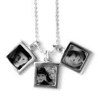Necklace_K_01, $24.00-$96 (depending on chain sytle and length), plus charms<br /> Your choice of chain type, and number of charms.  Your photo is reproduced and sealed making the charm waterproof, fadeproof & scratch resistant.