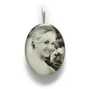 "Necklace_K_14, $50 or $62, depending on chain length Your photo is reproduced and sealed making the pendant waterproof, fadeproof & scratch resistant. Photo measures 1/2"" x 3/4"" Sterling Silver."