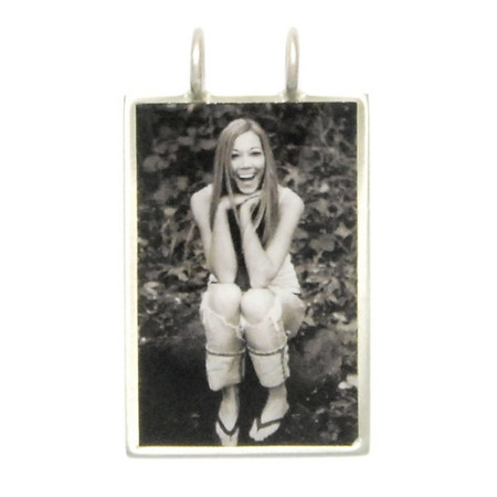 "Necklace_K_19, $52.00 or $64.00 depending on chain length (your choice of chain)<br /> Photo measures 7/8""w x 1-1/4"" h.  Your photo is reproduced and sealed making the charm waterproof, fadeproof & scratch resistant.  Sterling Silver."