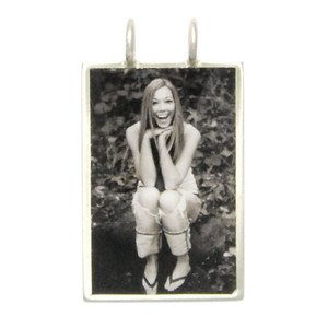 "Necklace_K_19, $52.00 or $64.00 depending on chain length (your choice of chain) Photo measures 7/8""w x 1-1/4"" h.  Your photo is reproduced and sealed making the charm waterproof, fadeproof & scratch resistant.  Sterling Silver."